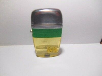 Scripto Vu Full Size Cigarette Lighter Green Band With Duel Floating Dice -Works