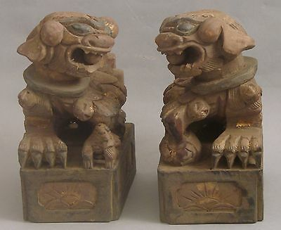 Pair Antique Hand Carved Wood Chinese Foo Dog Bookends