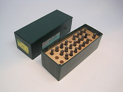 """Used Hanson 1/8"""" Steel Stamp Punch Letter Set in Box 22 Pieces Stock # 38635101"""