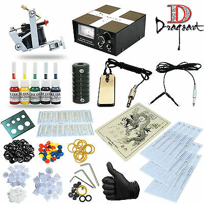 Pro Tattoo Kit Coil tattoo Machines Guns Power Supply Ink TK-17 freeship USA
