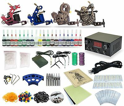 Complete Tattoo Kit 4 Machine Guns Equipment Power Supply 20 Colors TK-28