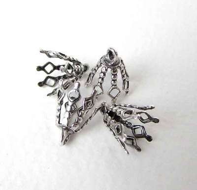 Antiqued Silver Ox Filigree Bead Cap End Cap Bail Vintage Style 14mm