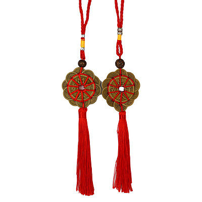 Lucky Ancient Chinese FENG SHUI Coins Car Livingroom Hanging Decor Tool