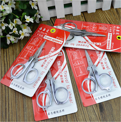 2X Metal Fold Folding Foldable Pocket Scissor Ideal for Camping Hiking Travel