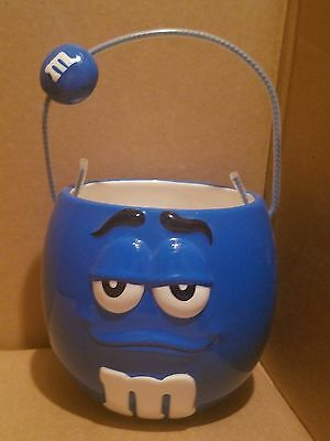 Galerie M&M's Blue M&M Collectible Ceramic Candy Dish Bowl Basket