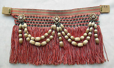 Rare Find Antique French Fringe  Bobbles Ribbon Work Accents French