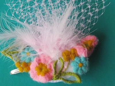 Vintage applique PINK netting fascinator on clip Kitsch piece