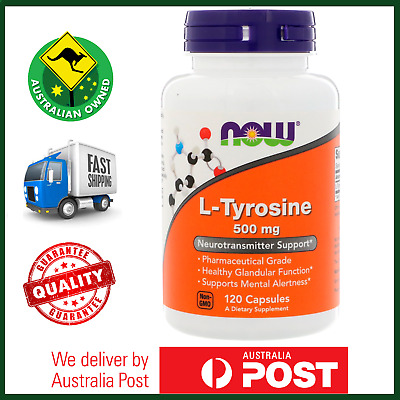 L-Tyrosine 500mg 120 Capsules by NOW Foods - Pure Amino Acid AUS STOCK FAST SHIP