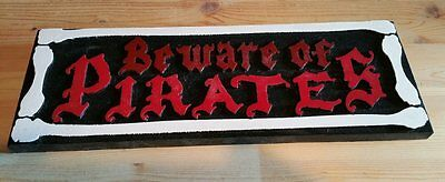 Beware of Pirates wood Sign 3D routed Island Beach Pool Tiki Bar