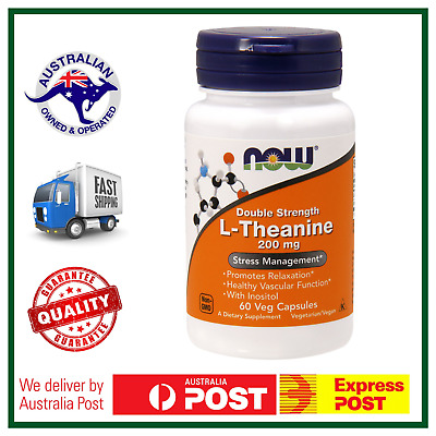 L-Theanine DOUBLE STRENGTH 200mg 60 Capsules by NOW Foods - AUS STOCK FAST SHIP