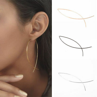1 Pair Cool Punk Simple Geometric Curved Line Alloy WOMEN Lady Club Earrings