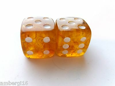 Handmade Baltic Amber Game Dice ~ 17,5 mm. Set of two dice.