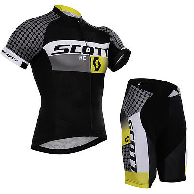 Mens Cycling Short Sleeve Jersey Shorts Kits Bicycle Riding Shirt Pants Pad Set