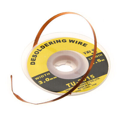 1.5M 3mm Desoldering Braid Solder Soldering Wick Wire Remover Cable Fluxed Spool