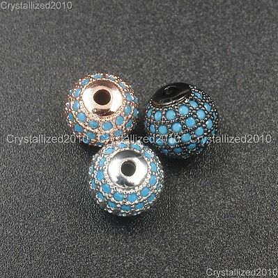 Natural Gemstones Turquoise Pave Round Disco Ball Bracelet Connector Charm Beads