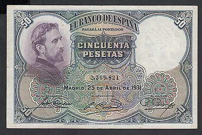 Spain  50 Pesetas 25-04-1931  VF-  P. 82,   Banknotes, Circulated