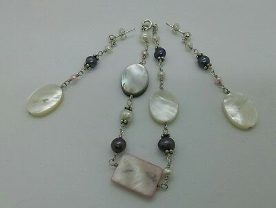 925 silver fresh water pearl and mother of pearl bracelet and earrings set