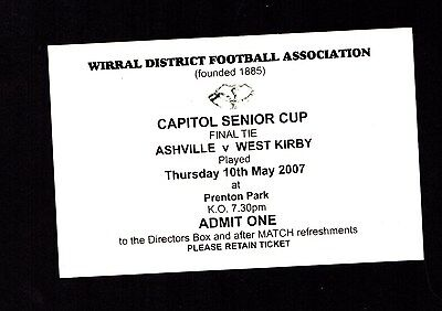 2006-2007 At Tranmere Wirral District FA Capitol Cup Final Ashville v West Kirby