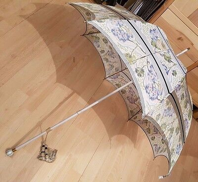 Paragon S. Fox & Co Frames Edwardian Silk Parasol Restoration - Porcelain Handle