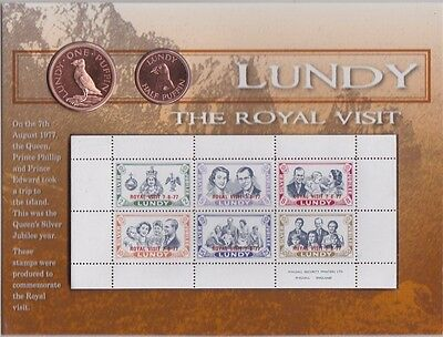 Lundy Royal Visit Two Coin & Postage Stamp Pack Dated 1977 In Mint Condition