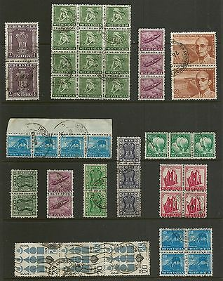INDIA - mixed collection, joined pairs strips blocks No.1