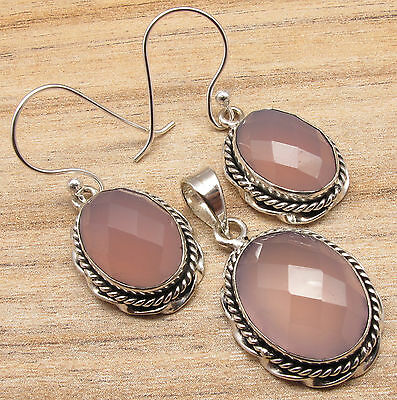 ROSE QUARTZ Earrings & Pendant Matching SET Sterling Silver Plated GIFT Jewelry