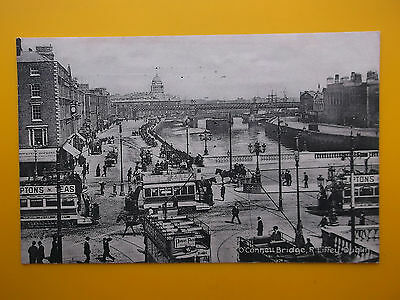 Trams O'Connell Bridge River Liffey DUBLIN Ireland *Vintage* c1914 Standard Size