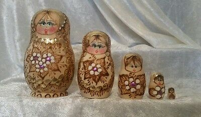 Vintage Russian Matryoshka Babushka 5 Pieces Set Nesting Dolls Gold Design