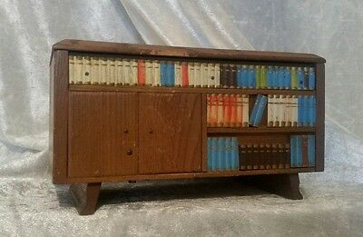 Vintage Musical Wooden Jewellery / Trinket Box Bookcase Style