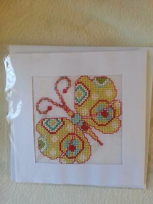 Hand Made Cross Stitch Butterfly Card