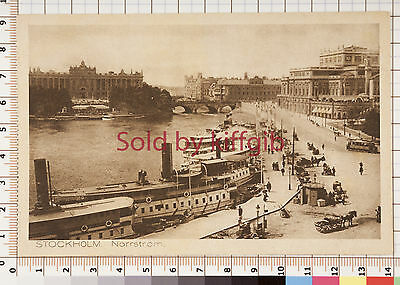 Stockholm, Norrstrom vintage postcard steamboats in foreground