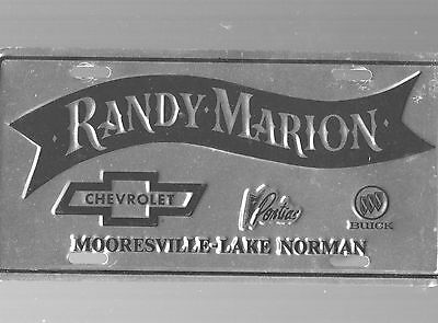 Randy Marion Chevrolet Dealership License Plate Car Tag-Mooresville-Lake Norman