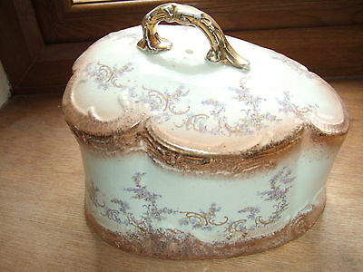 Beautiful Large Antique Gold Inlaid With Wisteria's Cheese Dish  unmarked 23cms