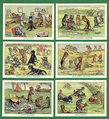 Cats - Crystal Cat - Set Of 6 Louis Wain Cat Cards - Sports  &  Leisure  Series