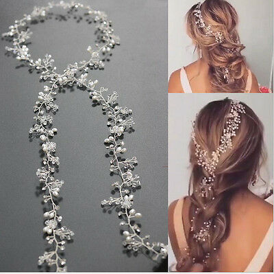 Princess Crystal Headband Wedding Bridal Pearl Long Hair Chain Band Crown Tiaras
