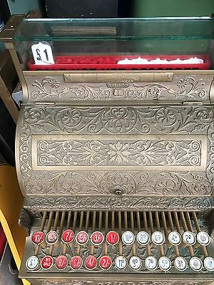 Superb Brass Vintage Antique National Cash Register, Model 8