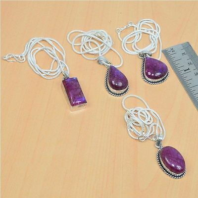 Wholesale 4Pc 925 Silver Plated Pink Rainbow Moon Stone Pendant & Chain Lot