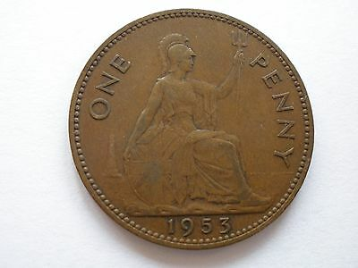 1953 Queen Elizabeth Ii Penny - Scarce - Uk Post Free