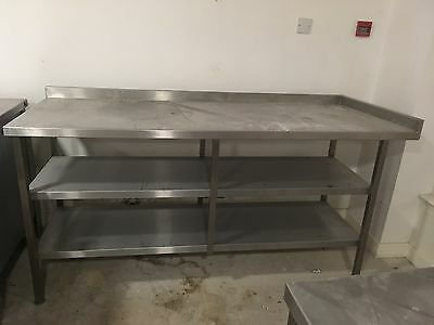 Large Stainless Steel Commercial Kitchen Table, 3 Tier, over 6FT Long
