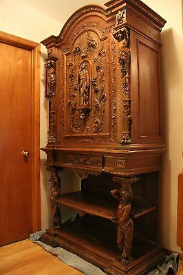 Antique French Renaissance Hand Carved Armoire