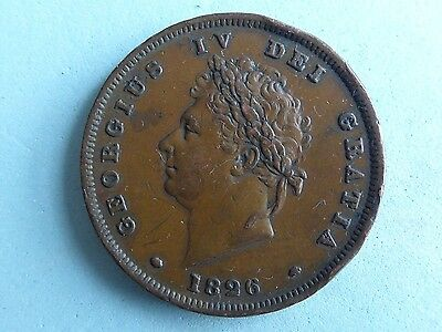 Great Britain George Iv Penny 1826 Many Rim Marks!  (227