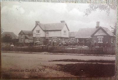 Stoke By Clare Postcard Showing Houses And People (1918)