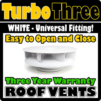 Wind Driven Roof Vent WHITE Plastic Van Dog Horse Vehicle Car Air Low Profile