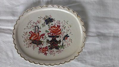 Antique Staffordshire Gaudy Welsh Pottery Oval Teapot Stand Gilt Scalloped Edge