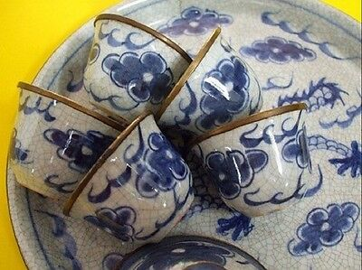 1Set (5 Cups & 1 Tray) Vtg Blue&White Dragon Tea Cup Chinese Brass Edge Pottery