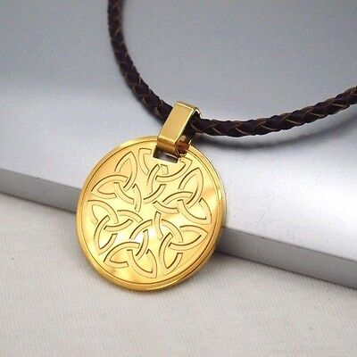 Gold Round Knot Celtic Symbol Pendant Braided Brown Leather Cord Ethnic Necklace