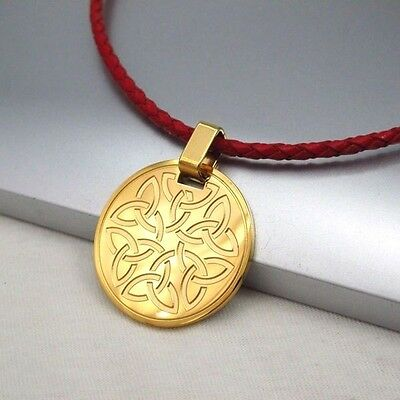 Gold Round Knot Celtic Symbol Pendant Braided Red Leather Cord Ethnic Necklace