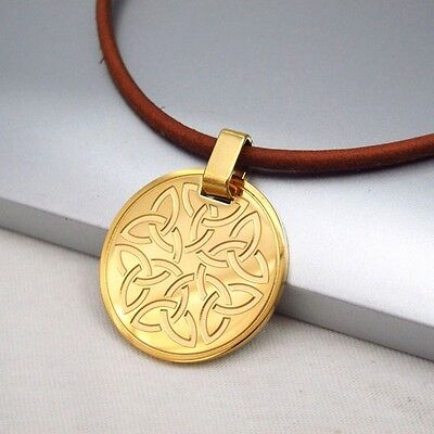 Gold Round Knot Irish Celtic Symbol Pendant Brown Leather Cord Ethnic Necklace