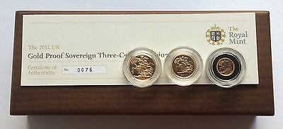 2011 Royal Mint 3 Coin Gold Proof Sovereign Set - Boxed with Certificate