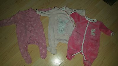 baby girls mothercare tiny baby 5lbs 3 x babygrows